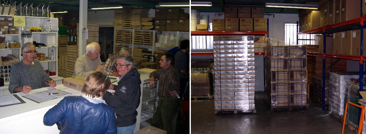 Les bénévoles accueillent les adhérents et aperçu du stockage